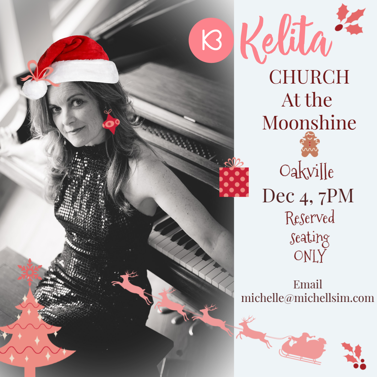 Promo poster for Kelita at Moonshine Cafe